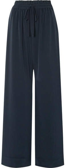 Crepe Wide-leg Pants - Navy