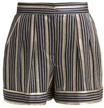 High Rise Striped Shorts - Womens - Navy Multi