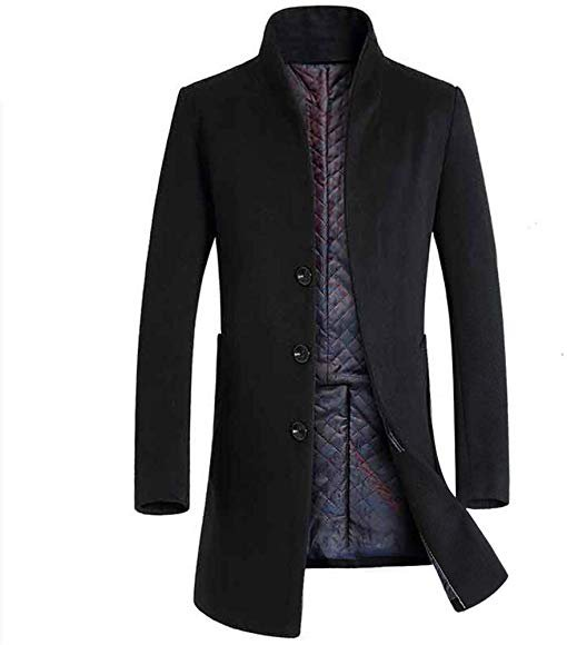 Men's Business Slim Plus Cotton Warm Stand Collar Woolen Coat (US XX-Large=China XXX-Large, Black) at Amazon Men's Clothing store: