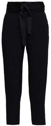 Jeava Cropped Belted Crepe Tapered Pants