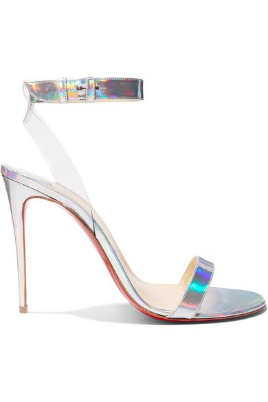 Christian Louboutin | Jonatina 100 PVC-trimmed iridescent leather sandals | NET-A-PORTER.COM