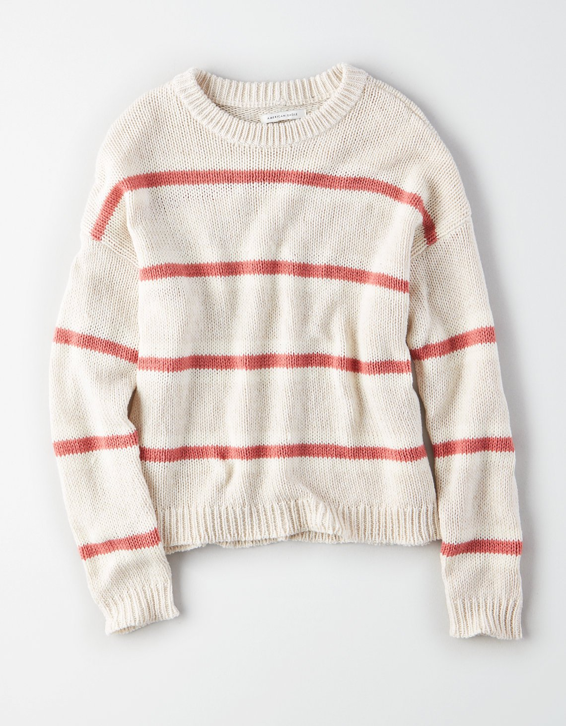 AE Slouchy Striped Pullover Sweater, Gray | American Eagle Outfitters