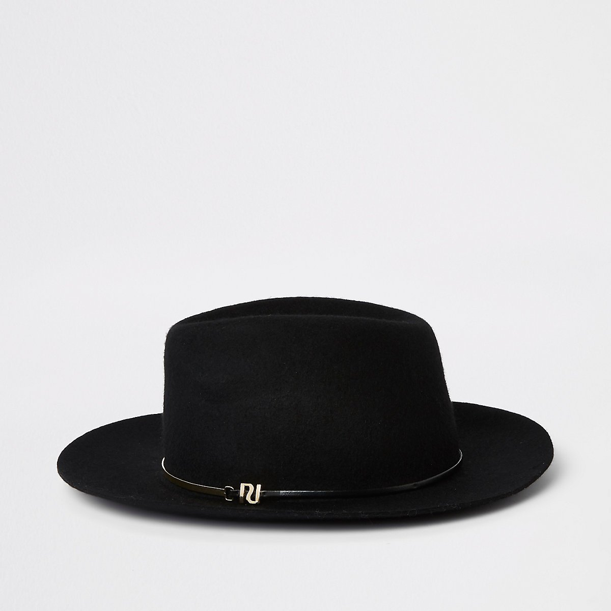 Black felt gold bar trim fedora hat - Hats - Accessories - women