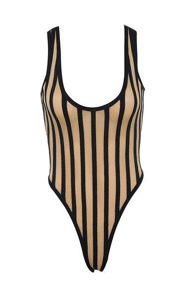 Clothing : Bodysuits : 'Ava' Black Nude Bandage Mesh Bodysuit