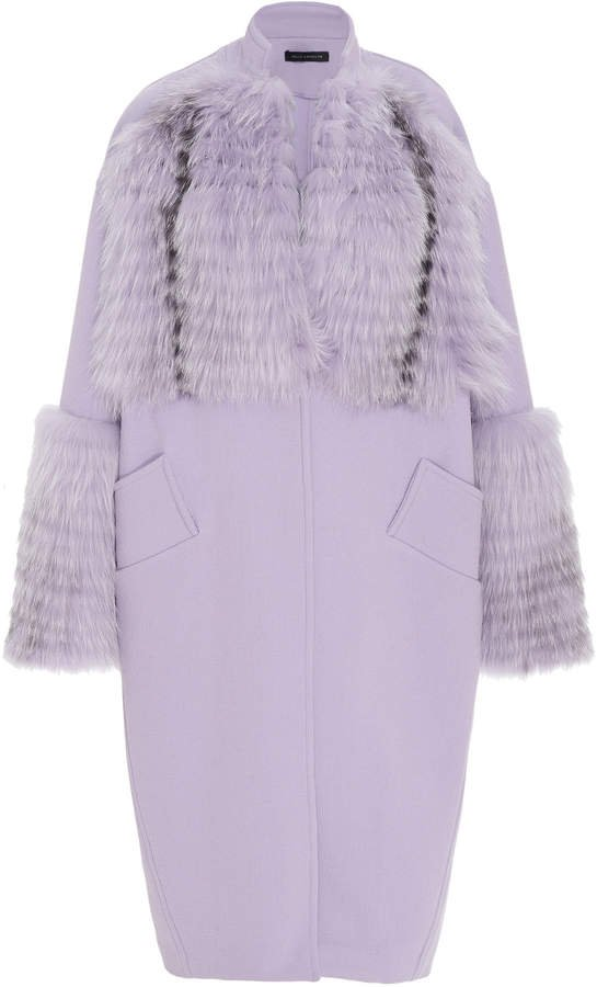 Sally LaPointe Fur-Trimmed Wool-Blend Cocoon Coat