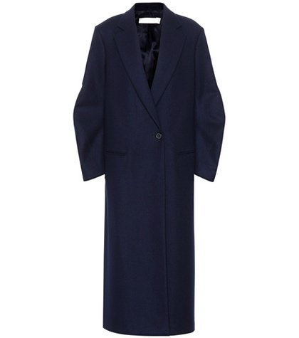 Twist Sleeve virgin wool coat