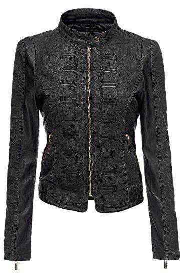 Women's Power Shoulder Quilted PU Leather Moto Denim Jacket