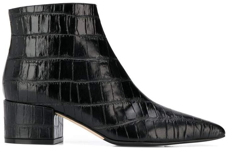 crocodile-effect ankle boots