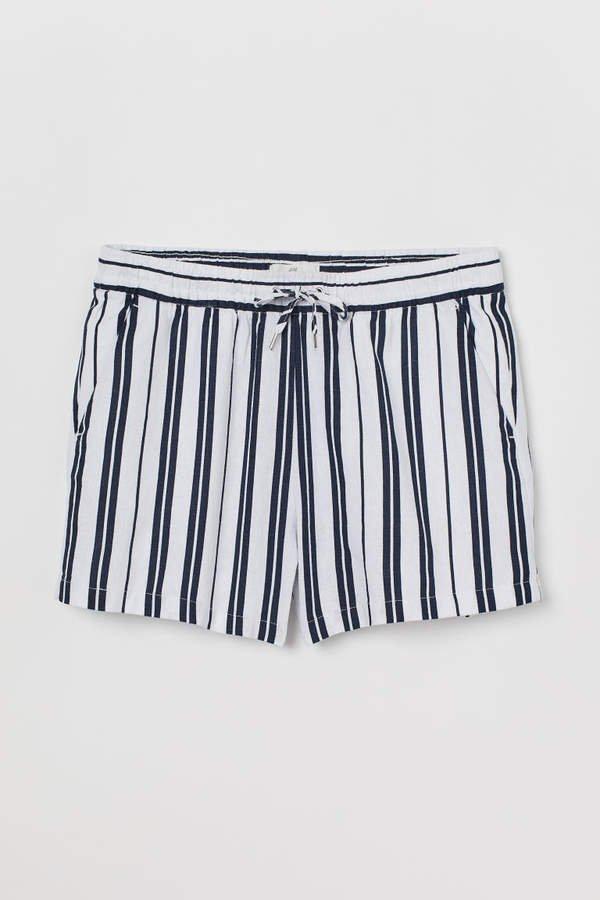 Linen-blend Shorts - Blue