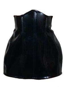 black patent latex underbust corset skirt