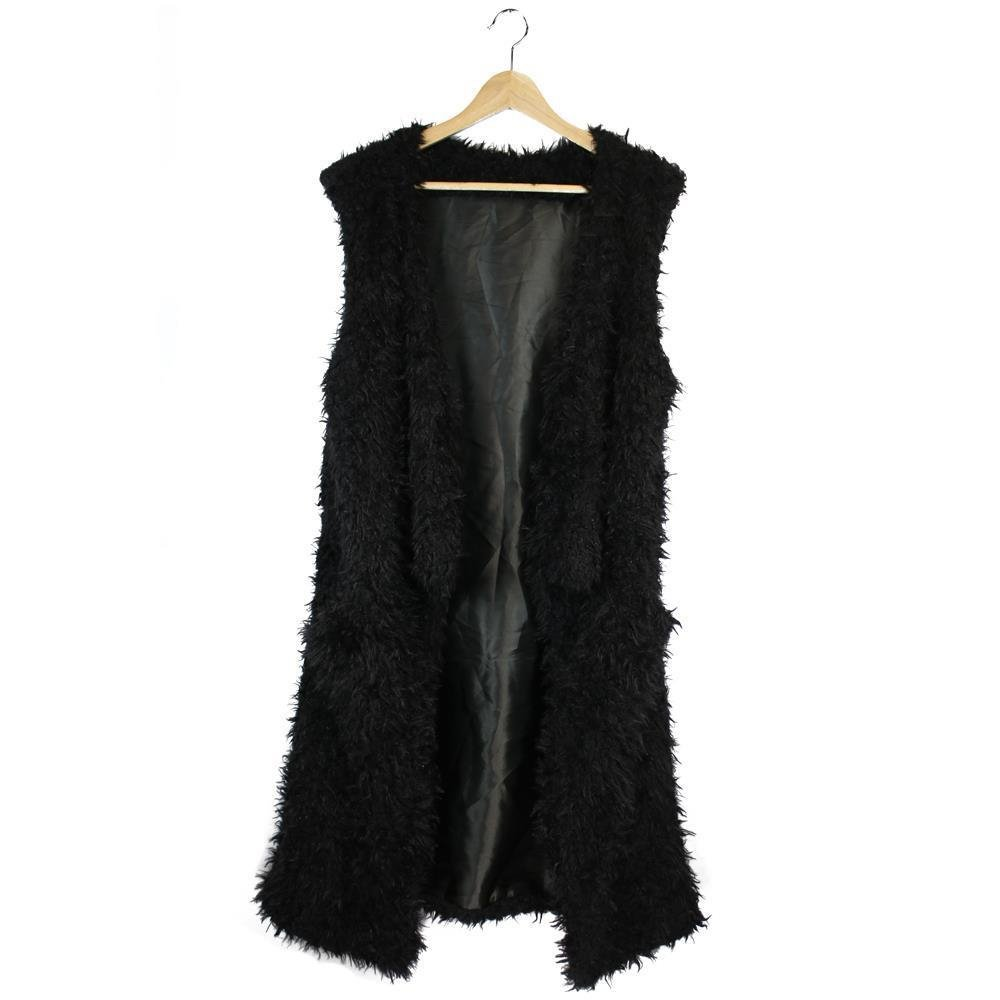 Just Jewelry Black Faux Fur Vest