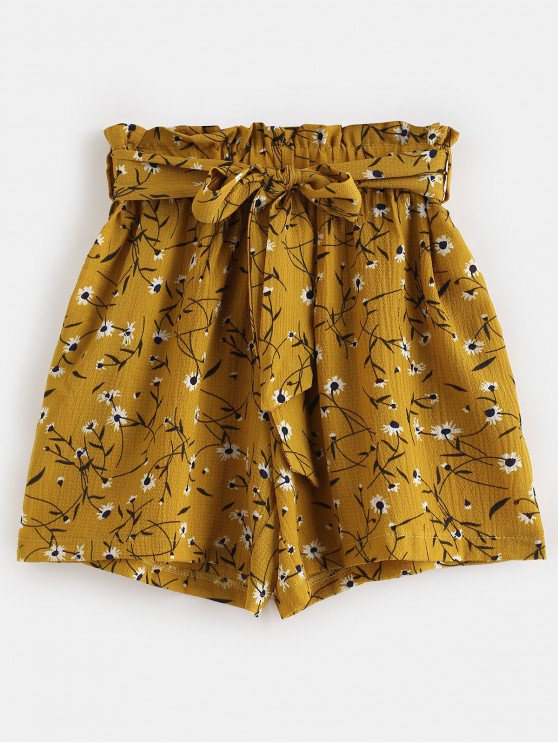 [36% OFF] [HOT] 2019 Belted High Waisted Floral Shorts In BEE YELLOW | ZAFUL NZ