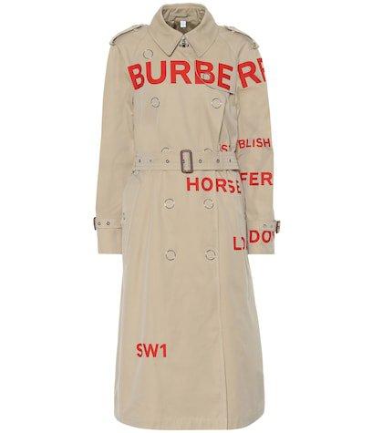 Printed cotton gabardine trench coat