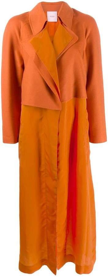 contrast panel midi coat