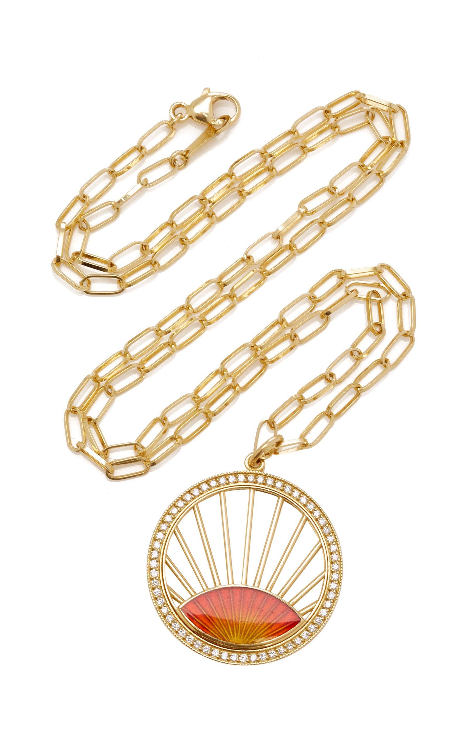 Andrea Fohrman Sunset Enamel Pendant W/ Gold Rays
