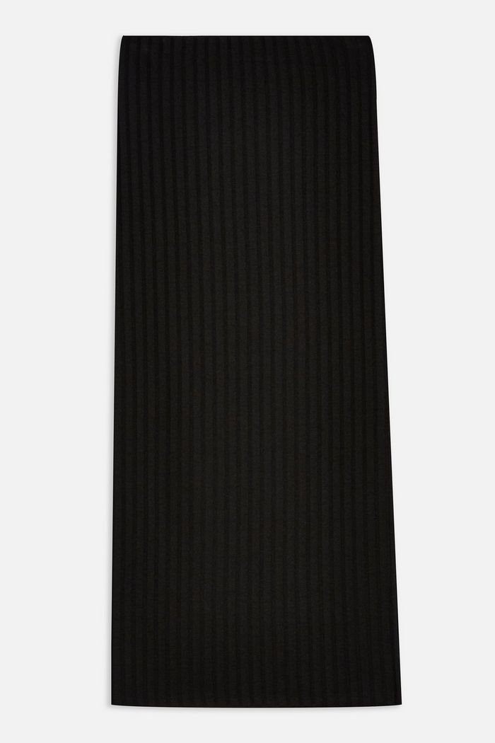 Black Ribbed Midi Skirt | Topshop