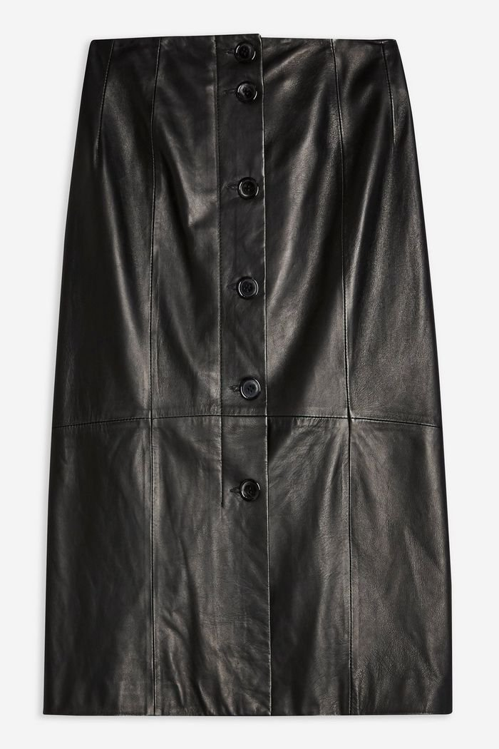 **Leather Button Skirt by Boutique | Topshop Black