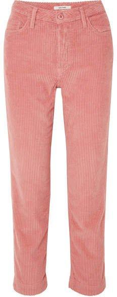 Helena Cotton-blend Corduroy Straight-leg Pants - Pink