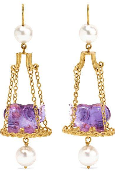 Marie-Hélène de Taillac   Renaissance Elephant 22-karat gold, amethyst and pearl earrings   NET-A-PORTER.COM