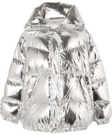 Oversized Quilted Metallic Shell Down Jacket - Silver