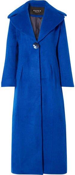 Belle Brushed Wool-blend Coat - Cobalt blue