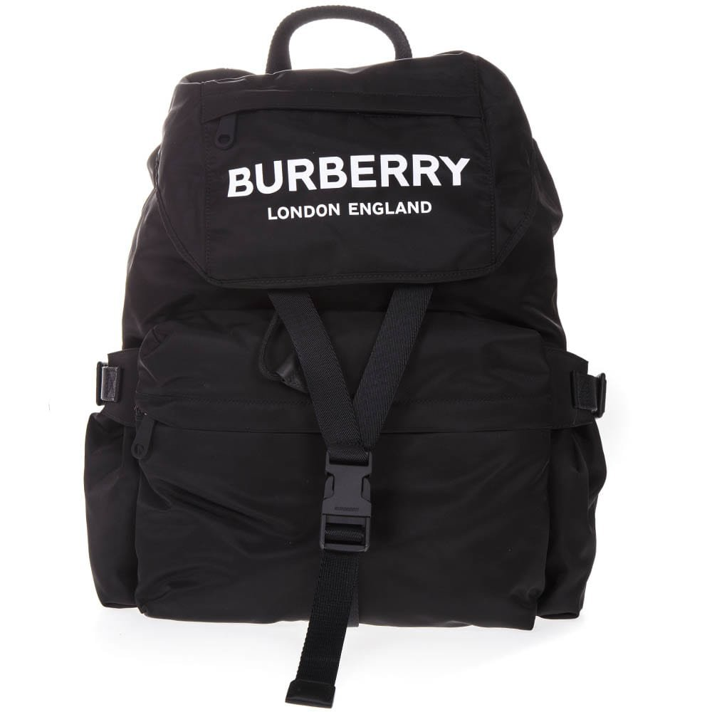 Burberry Backpack In Black Technical Fabric With Logo