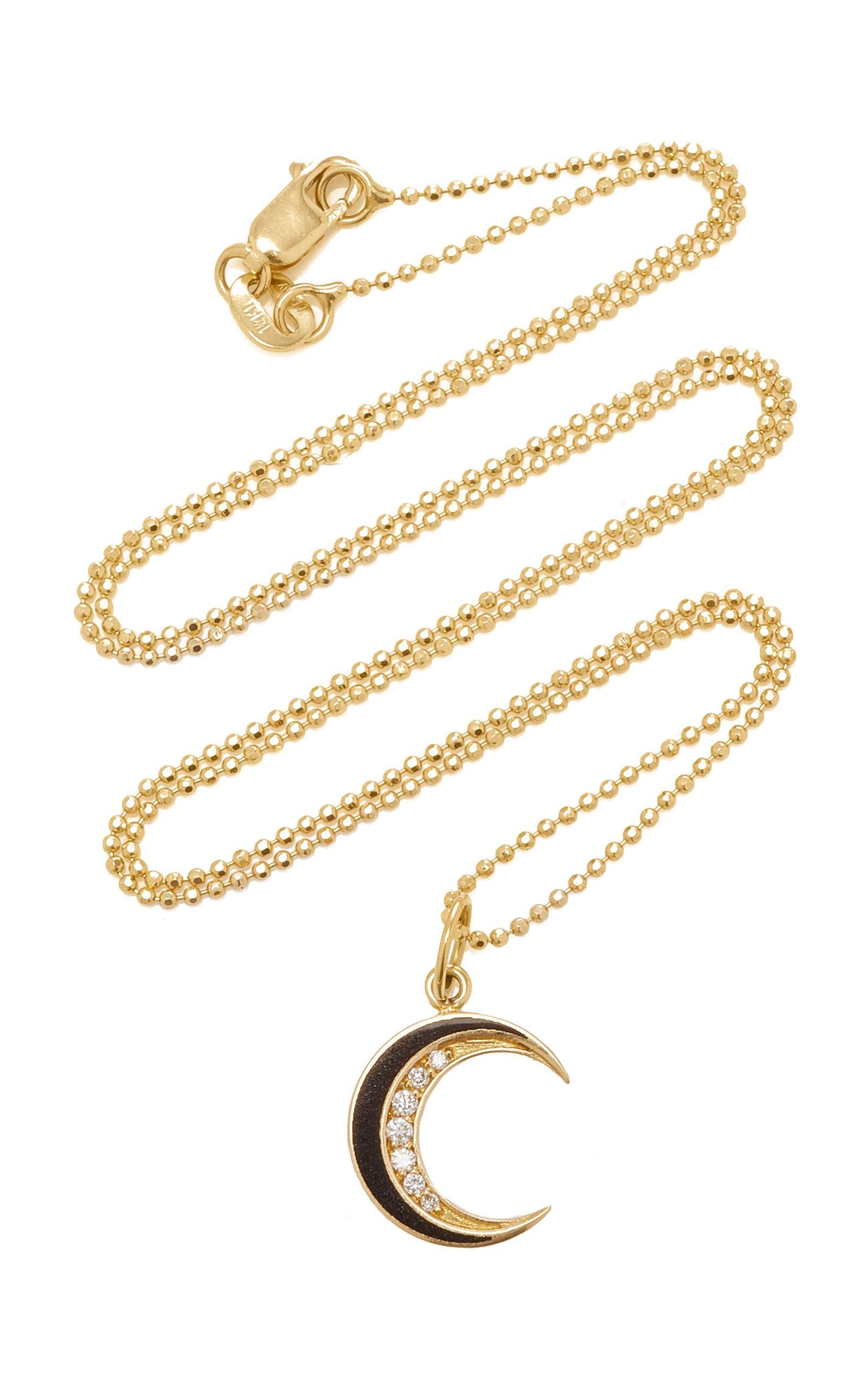 Andrea Fohrman Black Enamel Crescent Necklace