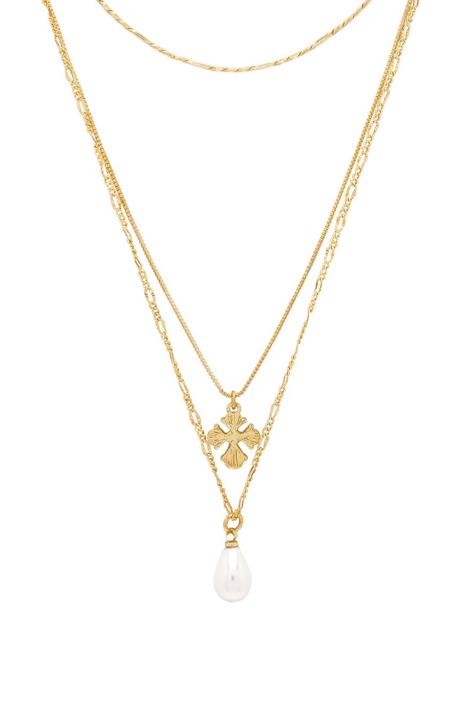 Nouveau Cross With Freshwater Pearl Charm Necklace