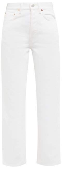 Straight Leg Cropped Jeans - Womens - Ivory