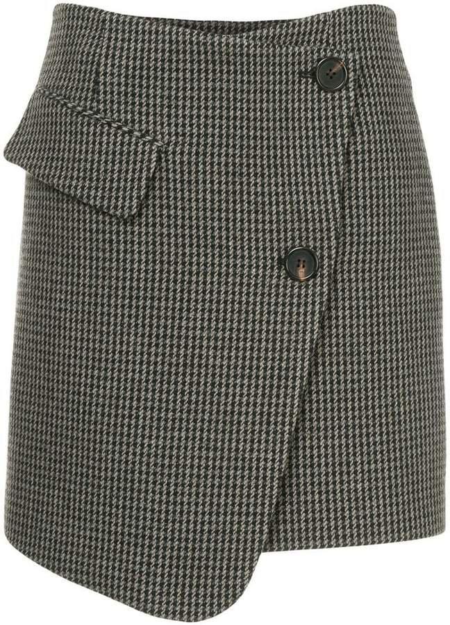 Goen.J houndstooth asymmetric wrap skirt