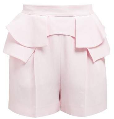 Peplum Waist Crepe Shorts - Womens - Light Pink