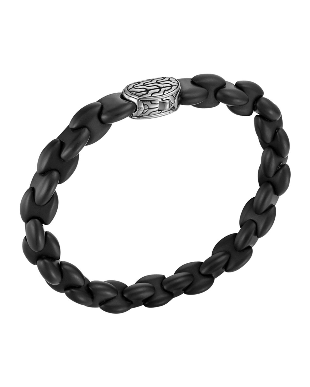 John Hardy Batu Classic Chain Silver and Black Agate Bracelet