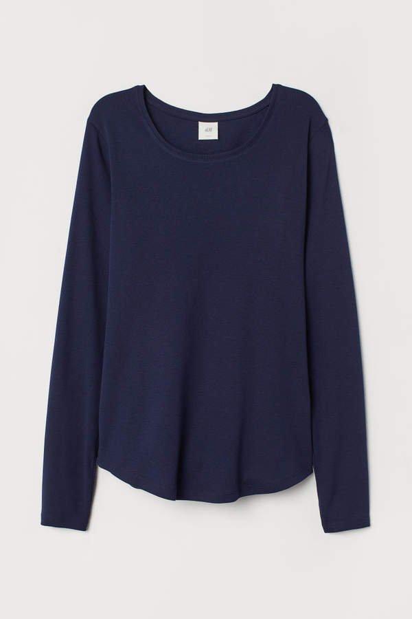 Long-sleeved Jersey Top - Blue