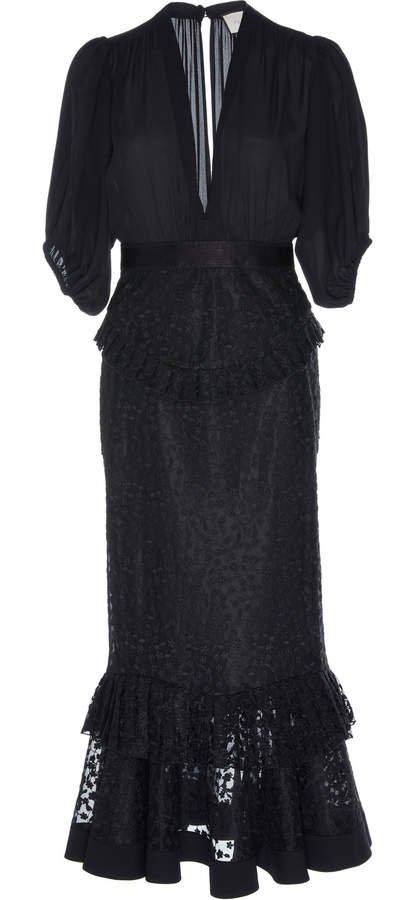Dilarra Lace-Trim Tiered Midi Dress
