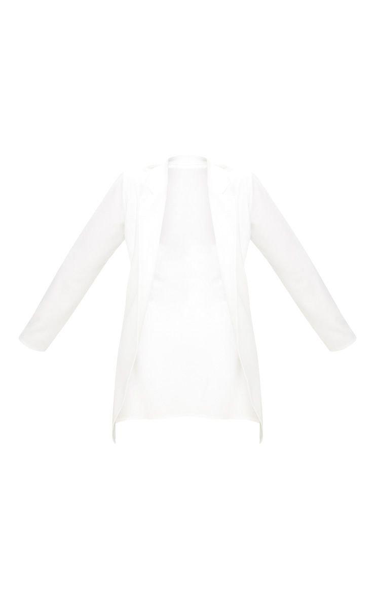 Plus White Longline Blazer | PrettyLittleThing USA