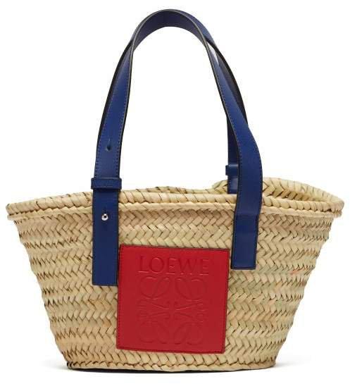 Small Logo Debossed Raffia Basket Bag - Womens - Cream Multi