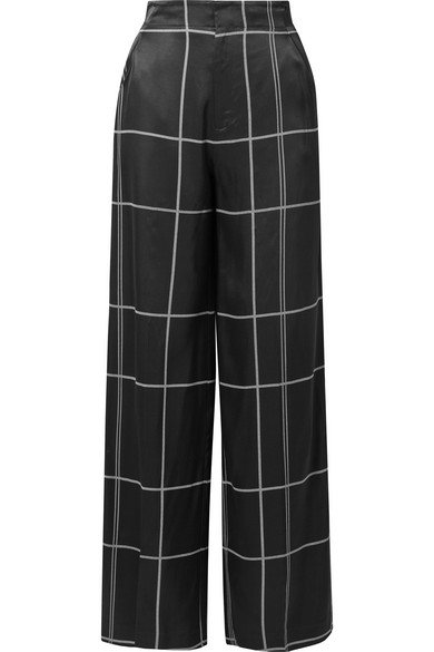 Equipment | Berneen checked satin wide-leg pants | NET-A-PORTER.COM