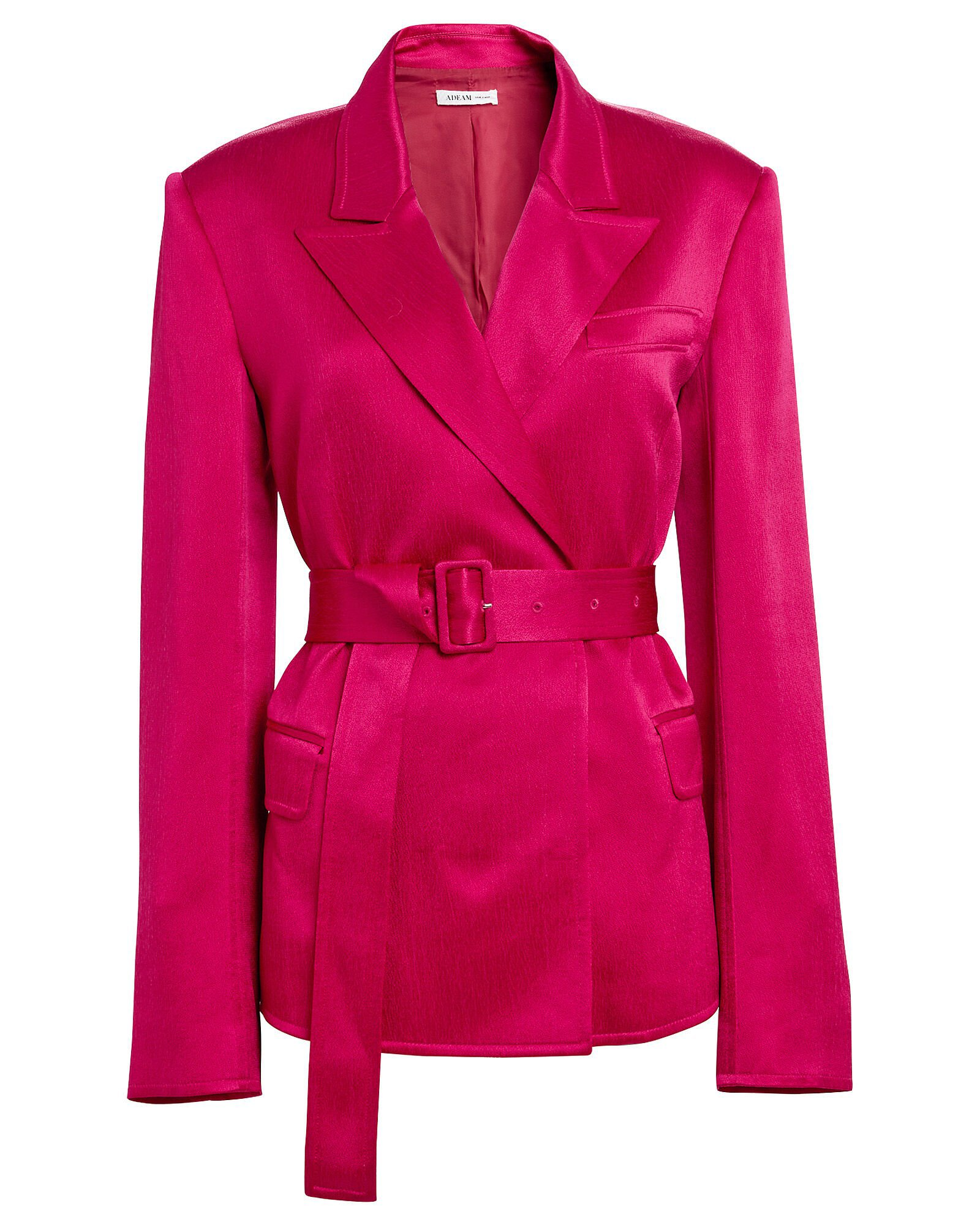 Satin Tailored Belted Blazer