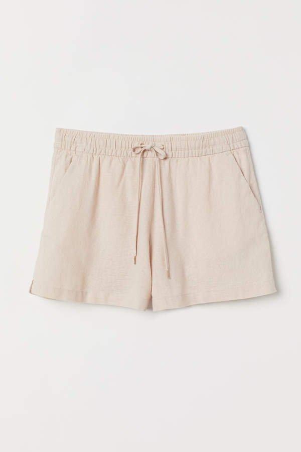 Linen-blend Shorts - Orange