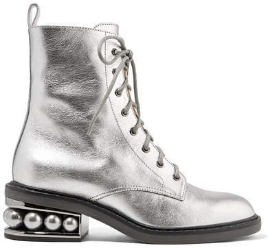 Casati Embellished Metallic Textured-leather Ankle Boots - Silver
