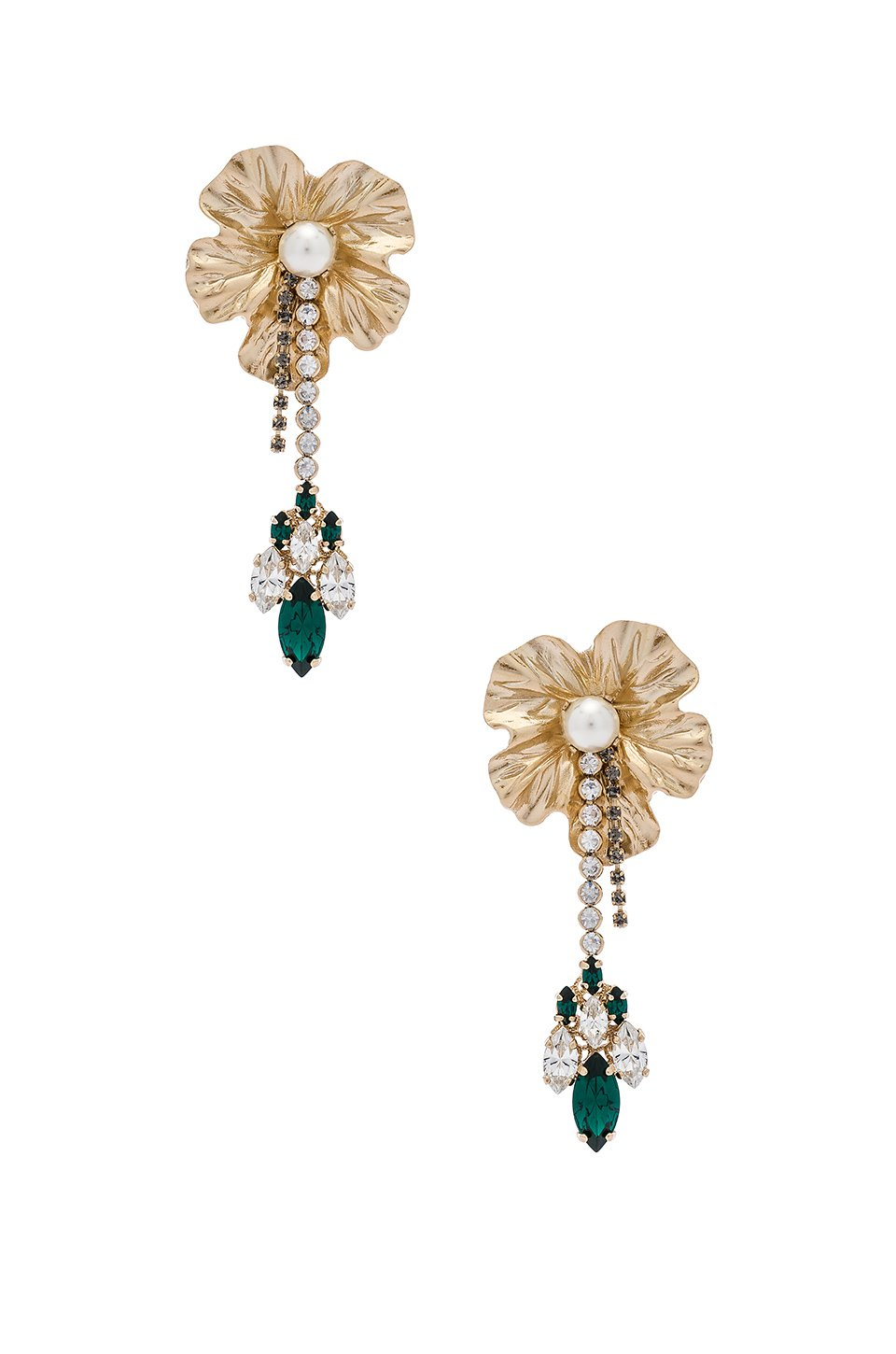Dangly Flower With Pendant Earrings