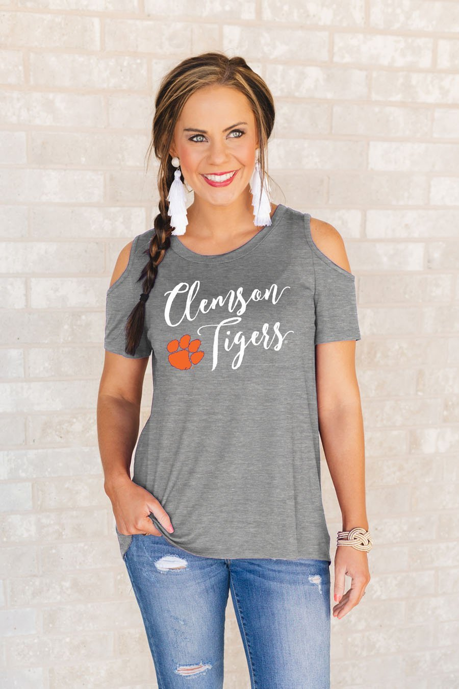 """Clemson Tigers """"Forever A Fan"""" Cold Shoulder Top – Gameday Couture"""
