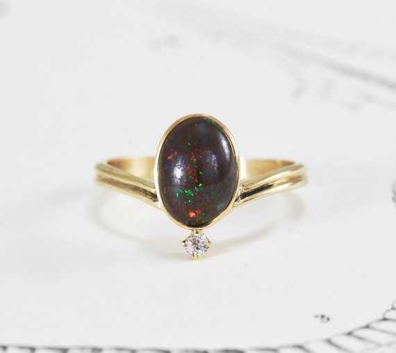 Australian Boulder Opal & Diamond Ring 14k Yellow Gold