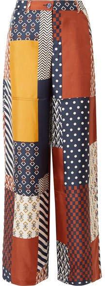 Denise Patchwork Printed Silk-twill Wide-leg Pants - Navy