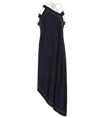 Asymmetrical crêpe midi dress