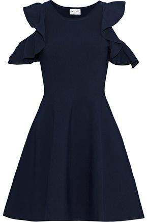 Cold-shoulder Ruffle-trimmed Stretch-knit Mini Dress