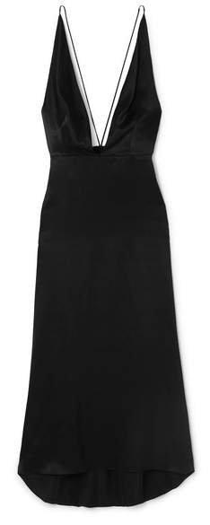 Open-back Silk-satin Midi Dress - Black