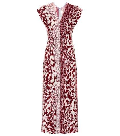 Printed cady midi dress