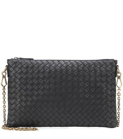 Intrecciato leather chain wallet
