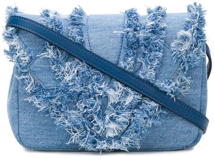 distressed trim flap handbag